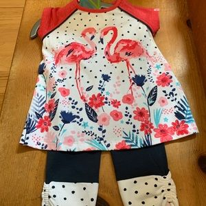 Adorable Flamingo shirt with leggings.